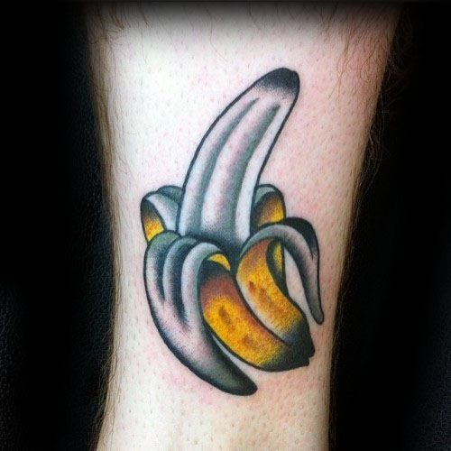 Lower Leg Guys Tattoos With Peeled Banana Design