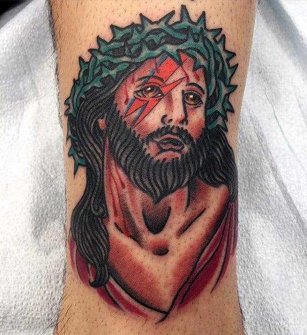 Lower Leg Guys Traditional Jesus Religious Tattoo Designs
