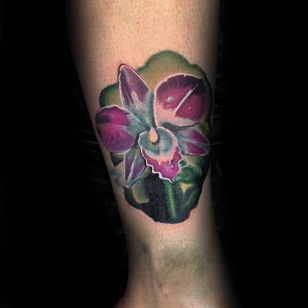 Lower Leg Guys Watercolor Orchid Tattoo
