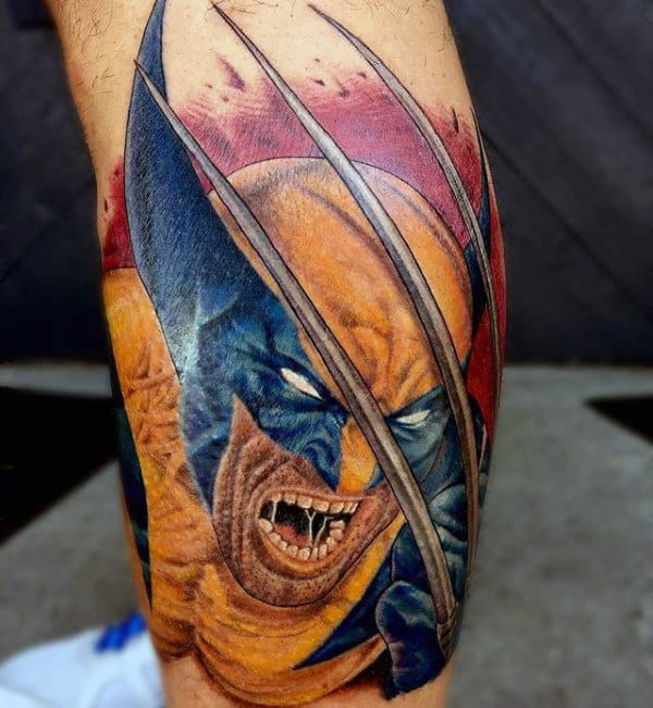 Lower Leg Guys Wolverine Tattoo Ideas