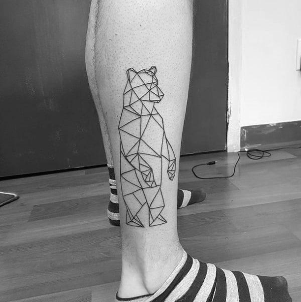 Lower Leg Male Geometric Bear Black Ink Outline Tattoo Ideas