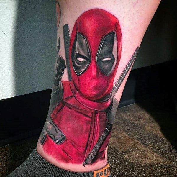 Lower Leg Male Red Ink Deadpool Tattoo Designs