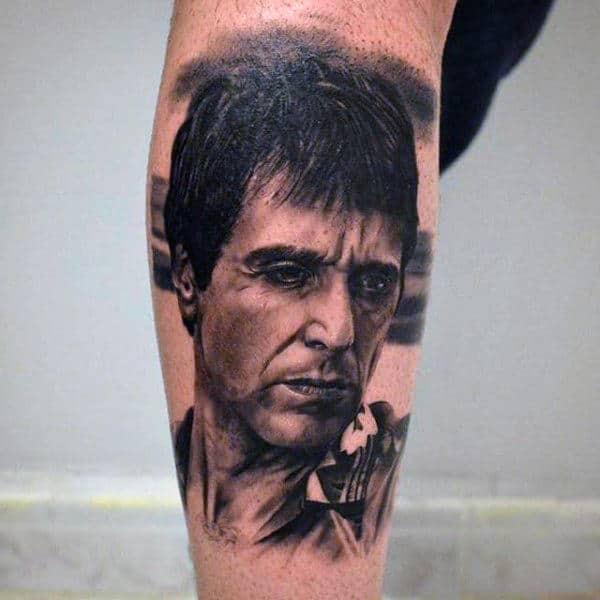 Lower Leg Male Tattoo Of Scarface