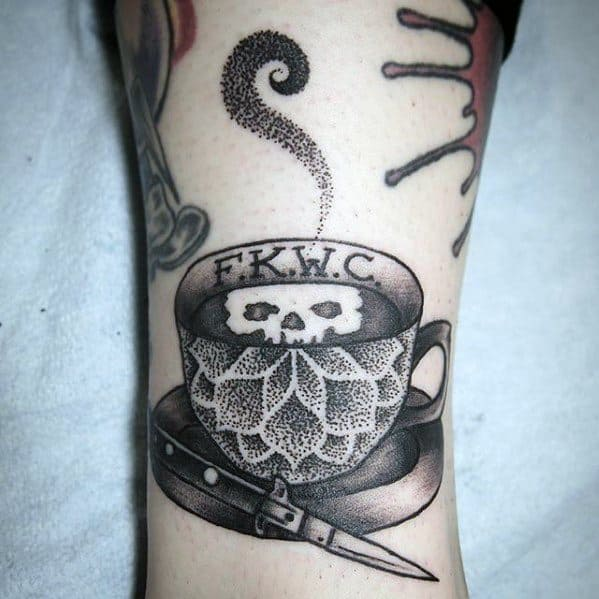 Lower Leg Male With Cool Switchblade Tattoo Design