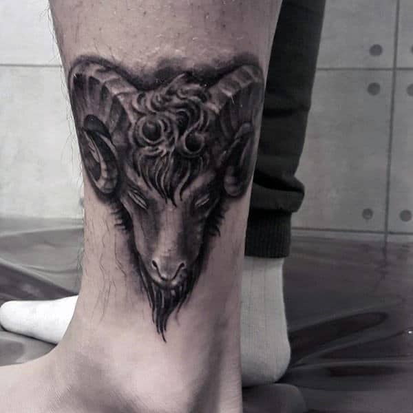 Lower Leg Mens Dark Shaded Goat Tattoos