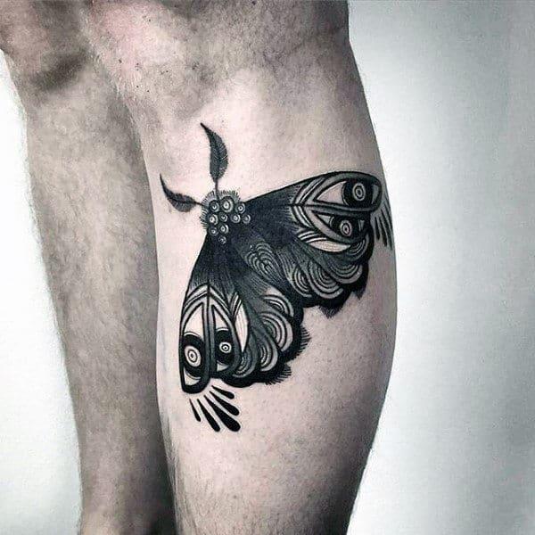 Lower Leg Mens Detailed Moth Tattoos