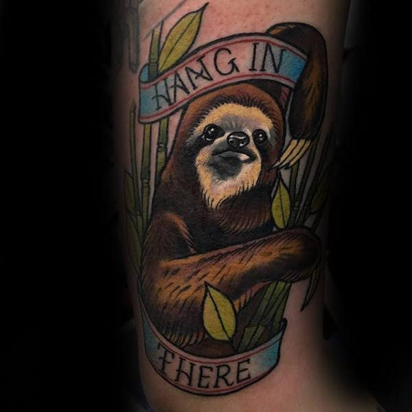 Lower Leg Mens Sloth Hang In There Tattoo