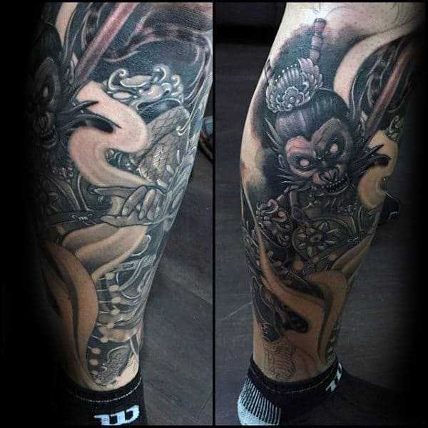 Lower Leg Monkey King Guys Tattoos