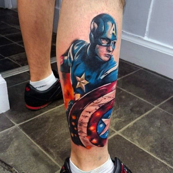 Lower Leg Realistic Captain America Guys Tattoo Inspiration