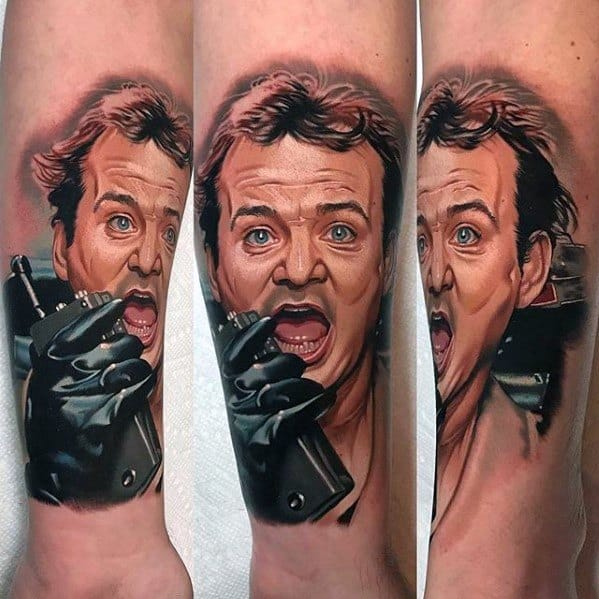 Lower Leg Realistic Ghostbusters Tattoo Ideas For Males