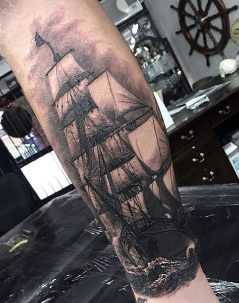 Lower Leg Realistic Guys Nautical Ship Tattoos