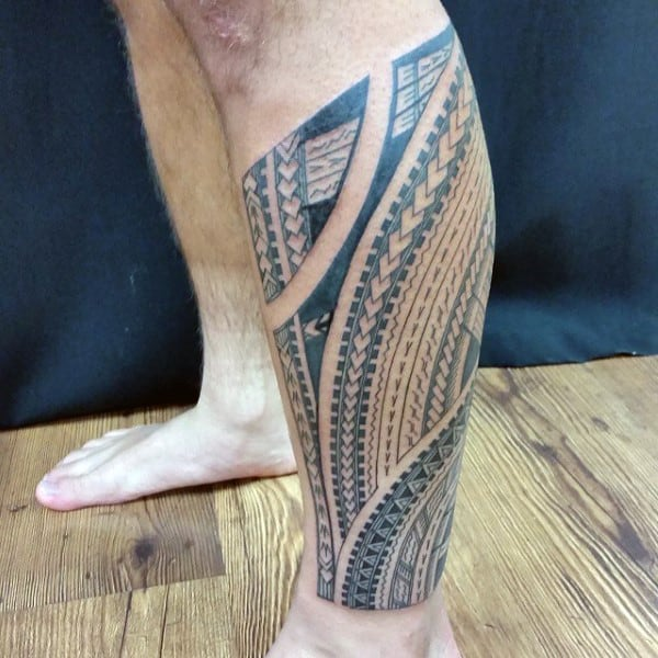 Lower Leg Samoan Sleeve Male Tribal Tattoo Ideas