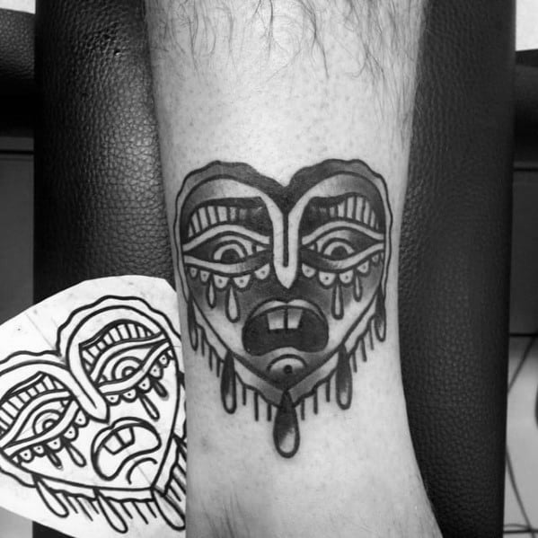 Lower Leg Shaded Artistic Male Crying Heart Tattoo Ideas