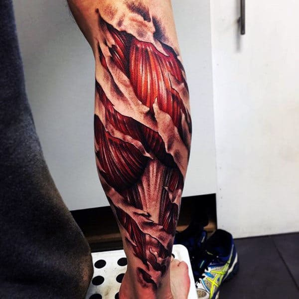 Lower Leg Sleeve Tattoo Of Exposed 3d Muscle On Male