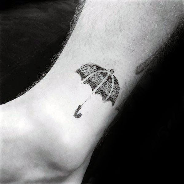 Lower Leg Small Dotwork Umbrella Male Tattoo Ideas