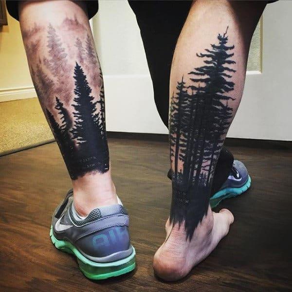 Lower Leg Tree Sleeve Mens Tattoos With Black Ink