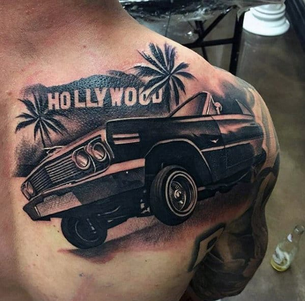Lowrider With Hollywood Sign Mens Unbelievable Shoulder Tattoo
