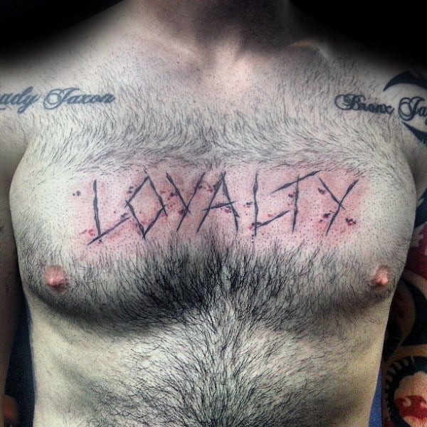 Loyalty Mens Carved Chest Tattoo Designs