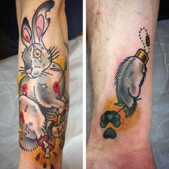 Lucky Four Leaf Clover Rabbit Foot Mens Inner Forearm Tattoo