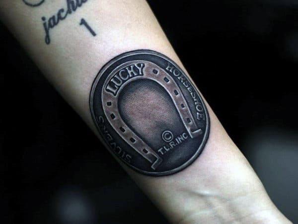 Lucky Horseshoe Guys Dark Shaded Inner Forearm Tattoos