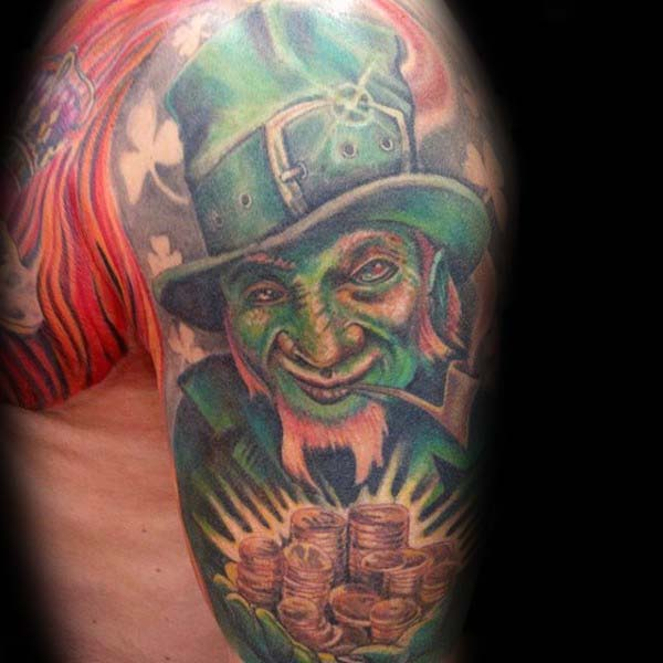 Lucky Leprechaun Irish Guys Half Sleeve Tattoos