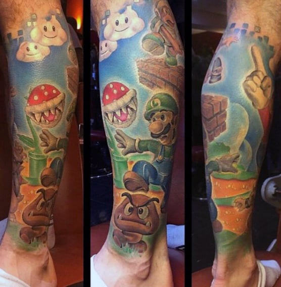 Luigi Video Game Themed Mens Leg Sleeve Tattoo