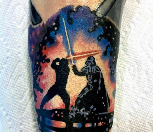 Luke Skywalker Battling Darth Vader With Lightsaber Mens Arm Tattoo