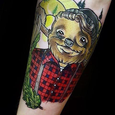 Lumberjack Sloth Mens Forearm Tattoo Design Inspiration