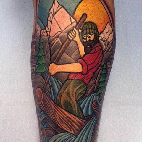 Lumberjack Stained Glass Male Tattoos On Leg Calf