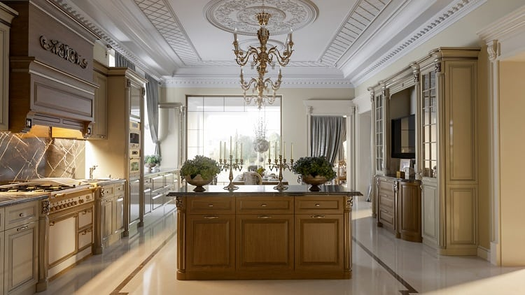 Luxurious Baroque Kitchen Tray Ceiling