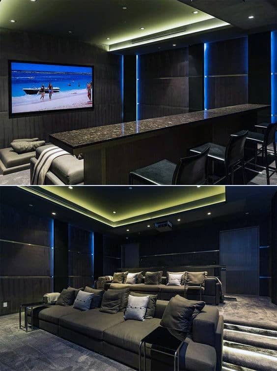 luxurious home theater design with plush carpet - Home Theater Design