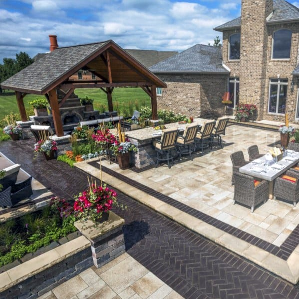 Luxury Backyard Designs Paver Patio With Bar And Covered Fireplace