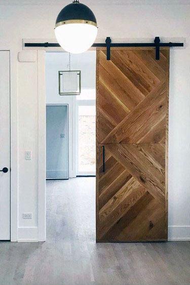 Luxury Barn Door Wood Pattern With Black Sliding Hardware