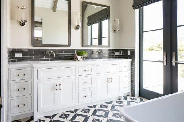 Bathroom Backsplashes Ideas | Top 70 Best Bathroom Backsplash Ideas Sink Wall Designs
