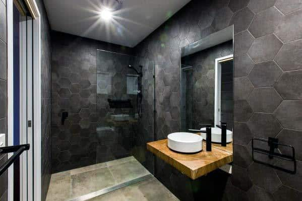 Top 60 Best Black Bathroom Ideas Dark Interior Designs
