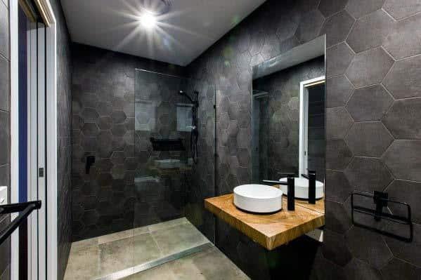 Top 60 Best Black Bathroom Ideas - Dark Interior Designs