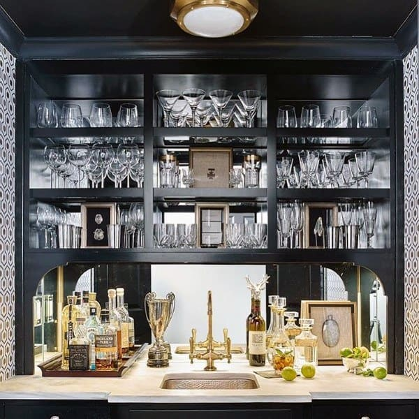 Luxury Black With White Marble And Gold Fixtures Wet Bar Ideas