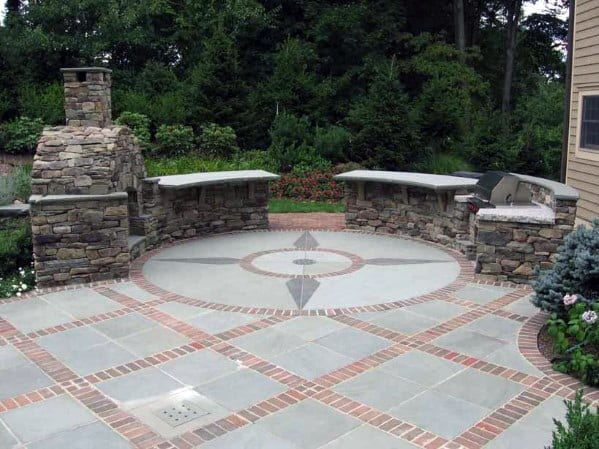 Luxury Brick And Grey Stone Patio With Ornate Pattern