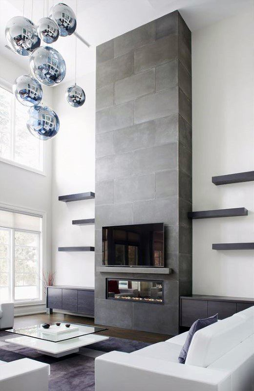 Luxury Concrete Fireplace Design