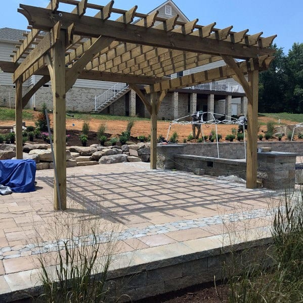 Luxury Covered Paver Patio With Pergola