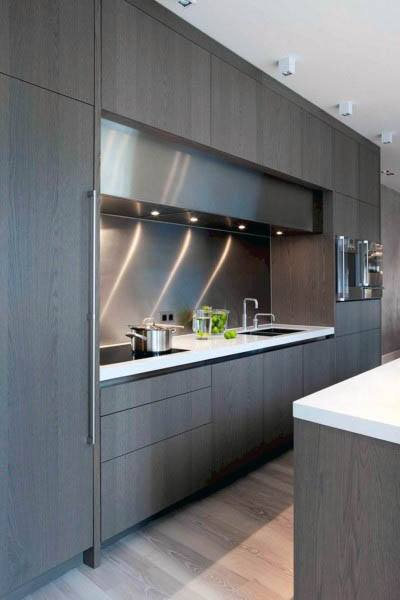 Luxury Dark Wood Modern Kitchen Cabinet Designs
