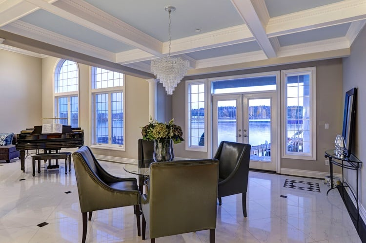 Luxury Dining Area Coffered Ceiling