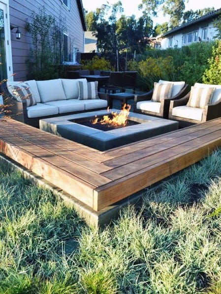 Luxury Fire Pit Seating Ideas Wood Beams