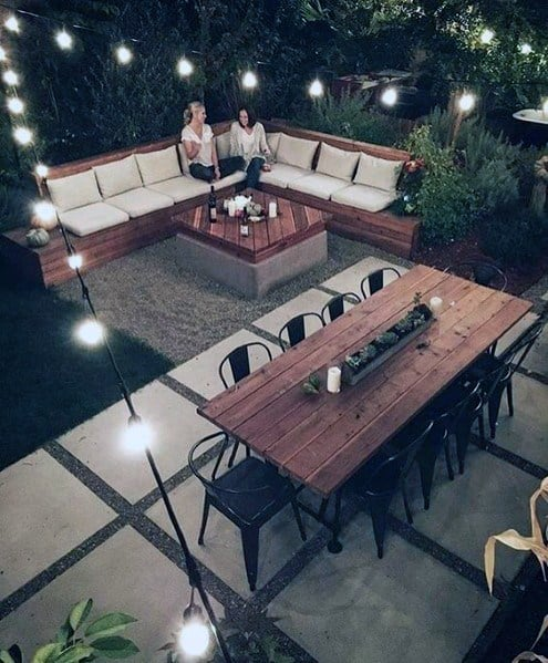 Luxury Gravel And Concrete Patio String Light