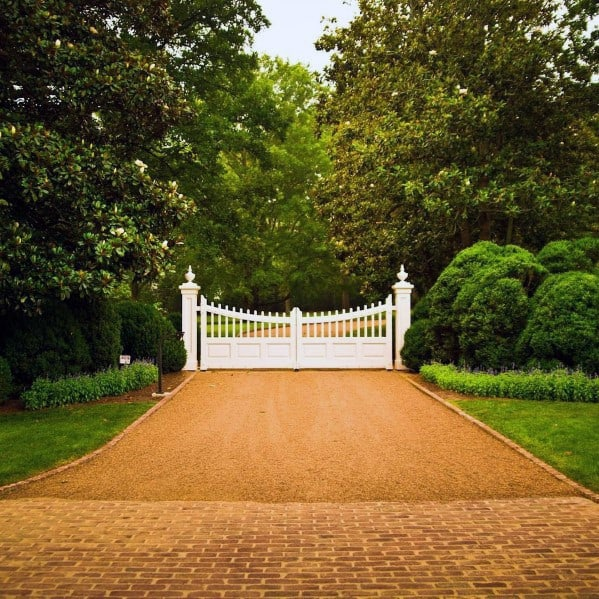 Luxury Gravel Driveway Ideas White Brick Pavers And White Gate