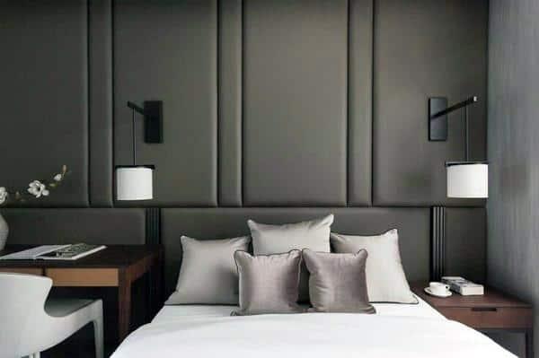 Luxury Grey Full Wall Headboard Ideas