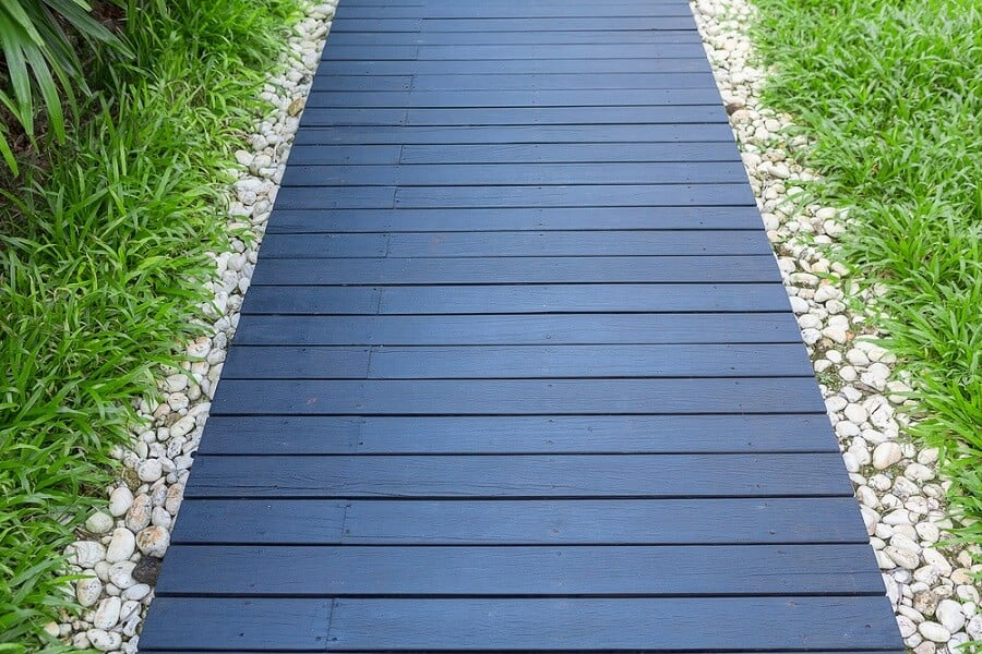Luxury Home Backyard Designs Wooden Walkway