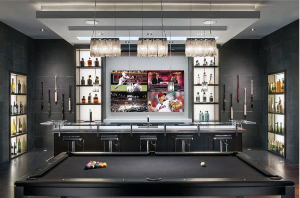 60 cool man cave ideas for men manly space designs - Luxury home bar designs ...