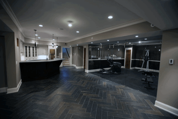 Luxury Home Basement With Bar And Private Gym