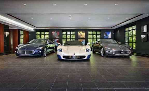 Luxury Home Garage Floor Tile Dark Grey Stone